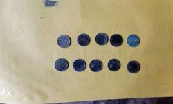 10 silver coins 25 Indian currency 19 century's