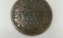 Copper 1 Quarter Anna Indian Rupee 1913 Round Coin