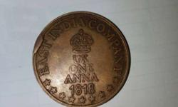 Copper One Anna 1818 Coin