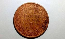 Copper One Quarter Anna Indian Coin 1941