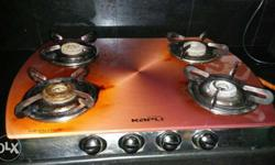 coral kapli 4 burner gas stove with thick toughened
