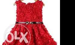 Fashionable designer red floral wedding dress for