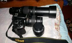 d5100,50mm, 70 300mm,extension tube, battry, 32gb