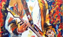 original framed paintings of all musicians around the