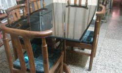 ???: Dining Room ???: Sets Black Glass top table with 6