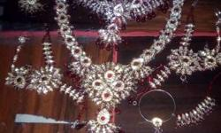 Embellished Ruby And Diamond Gold Chunky Jewelry Set