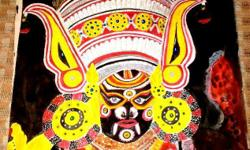 A Yakshagana Painting -water color painting framed and