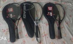 four (4) wilson racquets and head's racquets with cover
