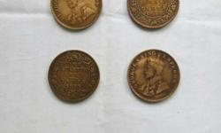 Four George King Emperor One Quarter Coins