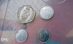 Four Silver Indian Paise Coins