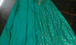 full length gown,shaded green colour.
