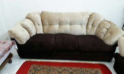 Fully comfortable brown & cream sofa set