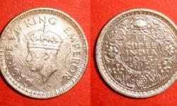 BRITISH INDIA COINAGE KING GEORGE VI AD 1943 1/4 RUPEE