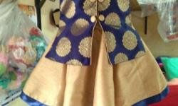 Girl's Blue And Brown Dress