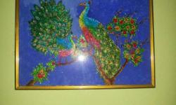 Glass painting of peacocks. Wall decor item