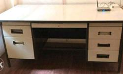 White And Black Wooden Knee Hole Desk
