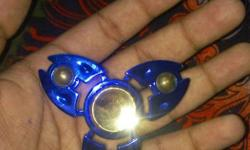 Gold-colored And Blue Fidget Hand Spinner made of alloy