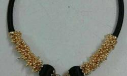 Gold And Black Rhinestone Necklace