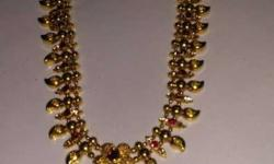 Gold And Red Bib Necklace And Dangling Earrings