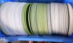 white and green fiber plates.used as catering