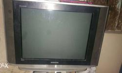 Gray And Black Widescreen Crt Tv
