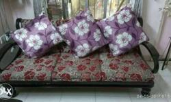 Gray And Red Wooden Frame Floral Sofa With Floral Throw