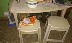 Gray Plastic Table And Stools