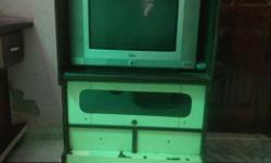 Gray Widescreen CRT TV With Hutch