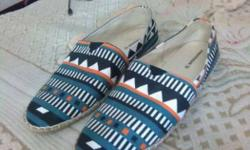Green-and-black Tribal Slip-on Shoes