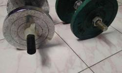 Green And Gray Dumbbells