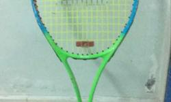 Green, Black, And Blue Tennis Racket