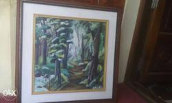 Green White And Blue Forest Trees Painting