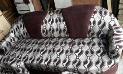 Grey And Brown Hexagonal Print Sofa