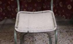 Grey And White Steel Cantilever Chair