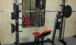gym sell in good condition. 18pic.itoms with dombels &