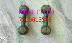 Two Green Dumbbells gym weight 6+6 KG hard metal..