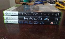 Halo 3 , Halo 4 , Halo Reach for Xbox 360 . To be sold