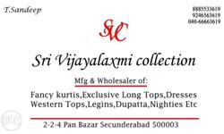helo mam/Sir we do wholesale of kurthis and legins. Sri