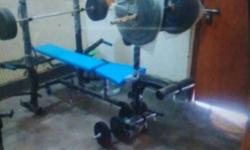 Home gym with 70 kg weight 10*4, 5*4, 2.5*4 kg plates