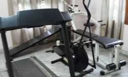 Home gym with all equipments threadmill.cycle.multi