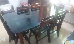 Jack wood dining table with glass top (6 feet /3 feet)