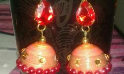 Fashionable paper quilling jhumka type hangings..