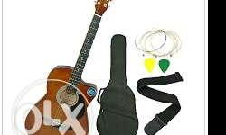 Jixing Acoustic Guitar- brown with strap bag , strings