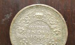 King George VI 1 rupee silver coin 1944 with 'Lahore'