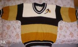 Knit White, Black, Yellow, And Brown new Sweater Price
