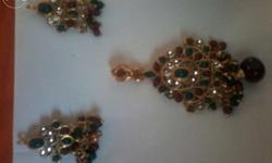 Colourful Kundan set of three