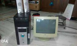 Crt Computer Monitor, Tower And Desktop Speakers