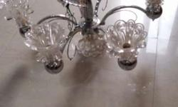 6 Lamps White Metal based chandelier for living room in