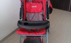 Luvlap stroller grey and red colour along with its