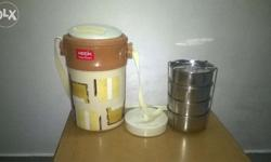 4 s.s box tiffin set with plastic box, 3 months old